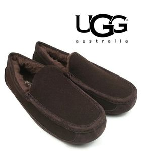 UGG Ascot Wool Suede Moc Toe Slippers Sz 10